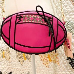 BETSEY JOHNSON Fuchsia/Hot Pink Football Bag NWT